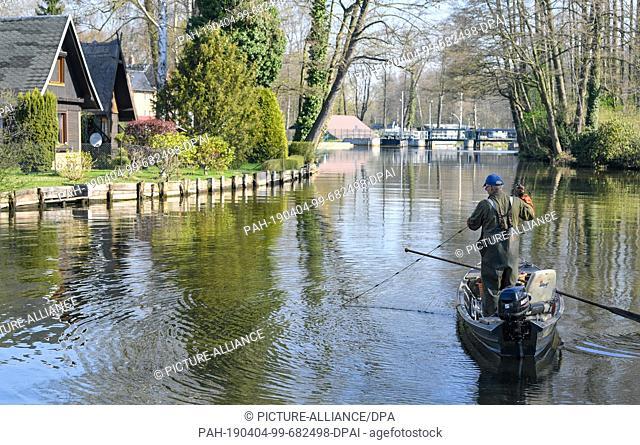 04 April 2019, Brandenburg, Lübbenau: A fisherman takes a gillnet from a stream into his barge. Photo: Patrick Pleul/dpa-Zentralbild/ZB