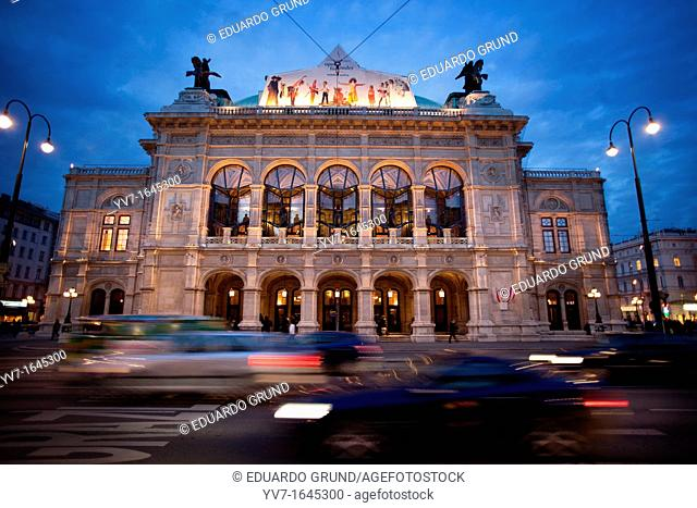 Main façade of the Staatsoper, built in 1861 in style 'neo-renaissance,' the first public building in the Ring after the destruction of the city walls  Vienna