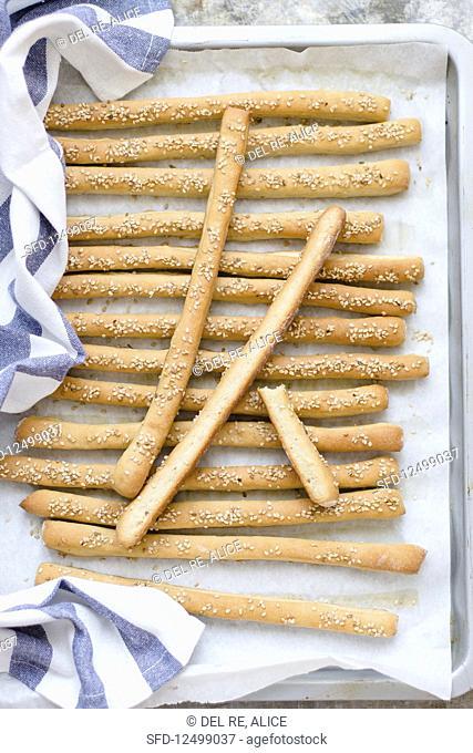 Tahini bread sticks with sesam seeds