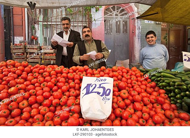 Istanbul fruit and vegetable stall at a market in Tarlabasi, Turkey