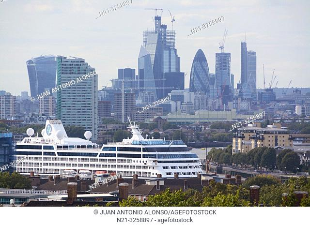 The City Financial District. On the foreground, the Azamara Journey cruise ship on the Thames