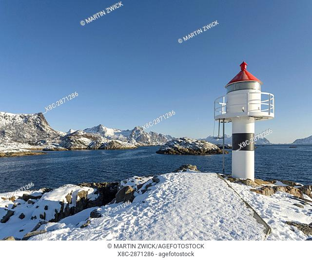 Small town Kabelvag, island Austvagoya. The Lofoten islands in northern Norway during winter. Europe, Scandinavia, Norway, February