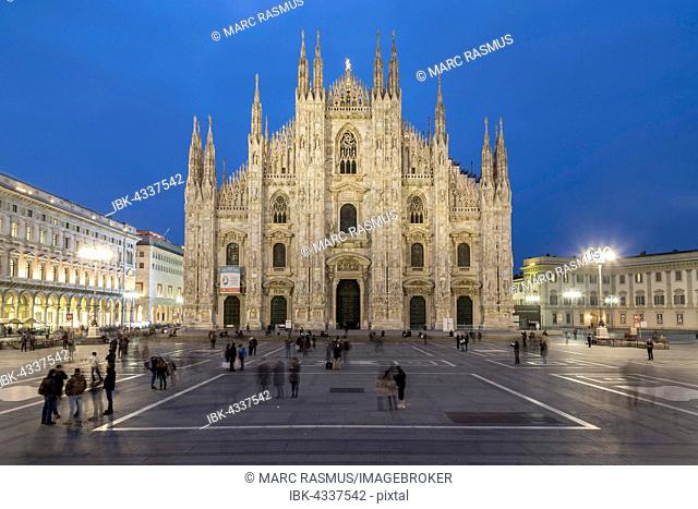 Milan Cathedral, Cathedral Square or Piazza del Duomo at dusk, Milan, Italy