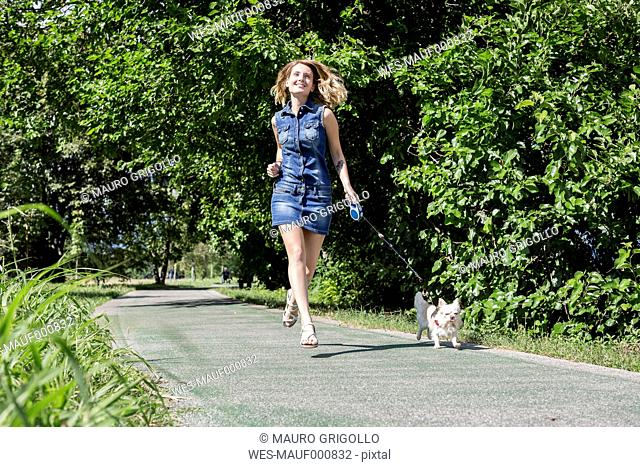 Happy woman going walkies with her Chihuahua