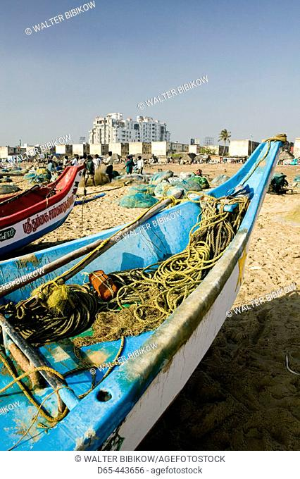 Marina Beach, fishing boats. Chennai. Tamil Nadu, India (2004)