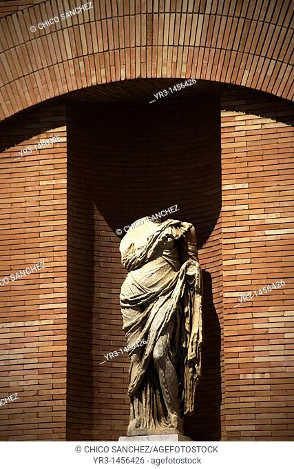 A sculpture is displayed at the facade of the Museum of Roman Art in Merida, Badajoz province, Extremadura region