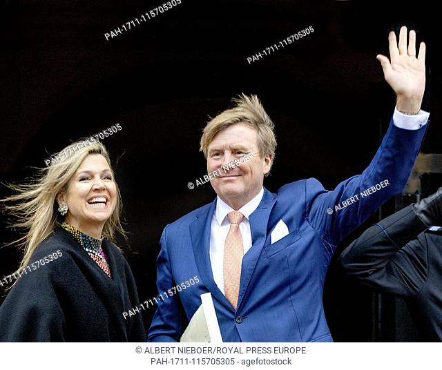 King Willem-Alexander and Queen Maxima of The Netherlands arrive at the Royal Palace in Amsterdam, on January 15, 2019, to attend the annual New Year's...