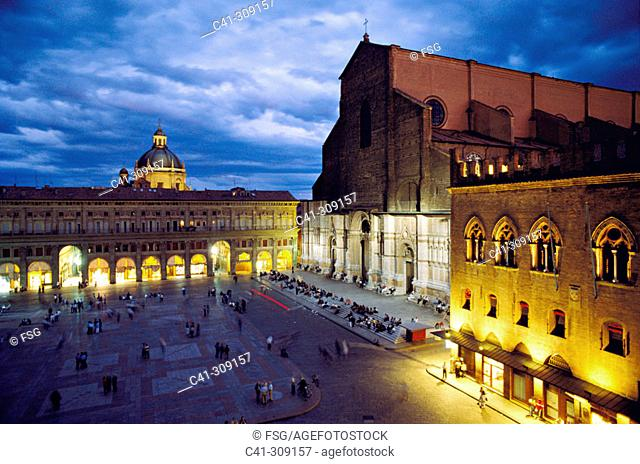 San Petronio's cathedral and Palazzo dei Notai at Piazza Maggiore. Bologna. Italy