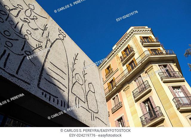 Mural of Picasso in Plaza Nova, Barcelona, Gothic District, Catalonia, Spain