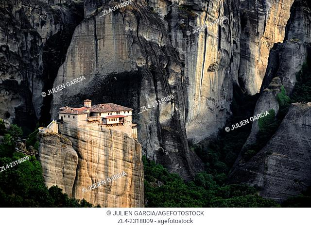 Greek orthodox monastery of Rousanou (Saint Barbara). Greece, Central Greece, Thessaly, Meteora monasteries complex, listed as World Heritage by UNESCO