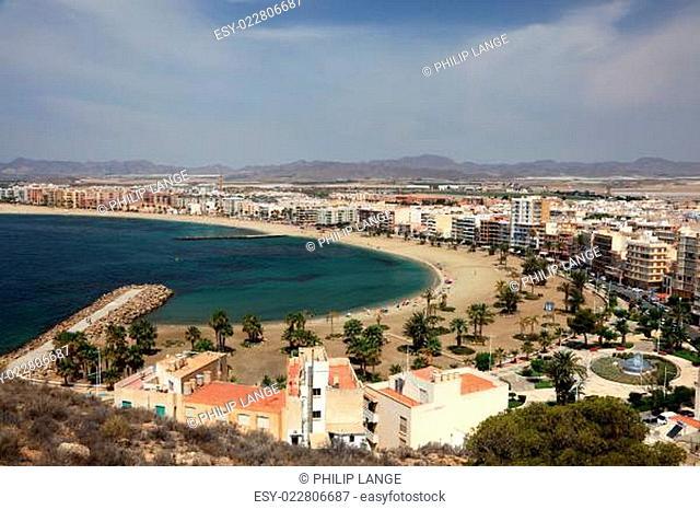 Beautiful beaches in Mediterranean town Aguilas. Province of Murcia, Spain