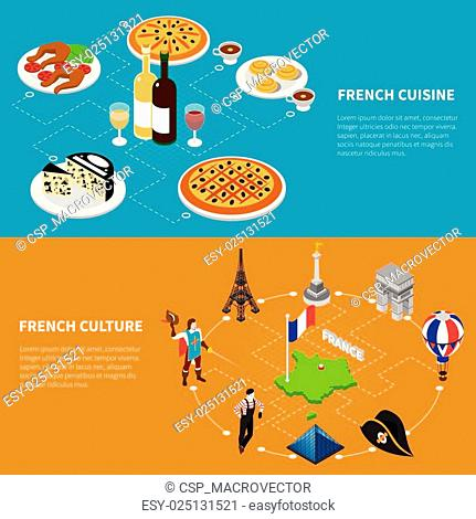 France Tourism 2 Isometric Banners Poster