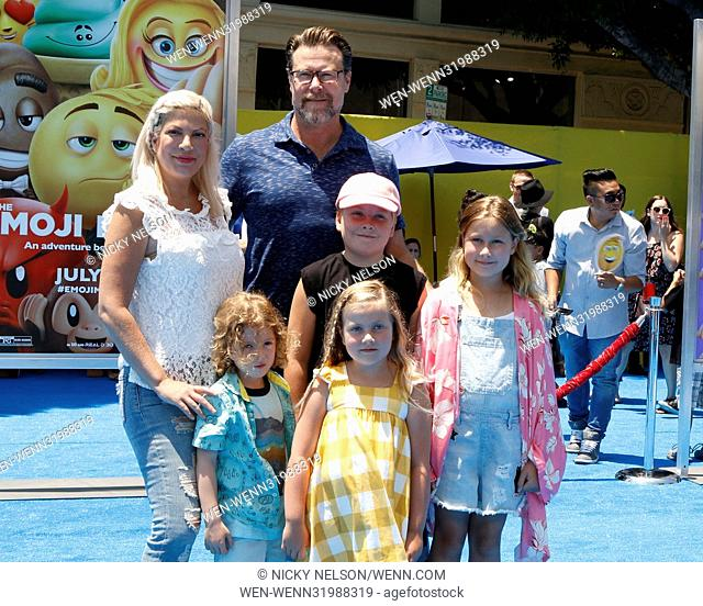 Premiere of 'The Emoji Movie' at the Regency Village Theatre in the Westwood neighbourhood of Los Angeles, California. Featuring: Tori Spelling, Dean McDermott