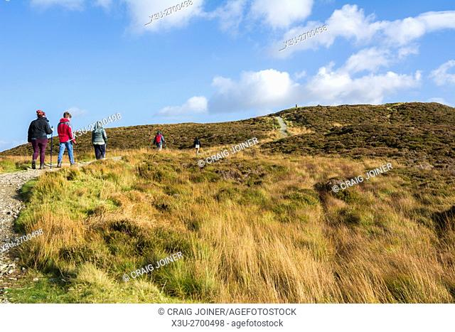 People walking on Gowbarrow Fell near Ullswater in the Lake District National Park, Cumbria, England