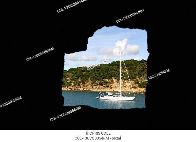 Moored yacht at English Harbour Entrance