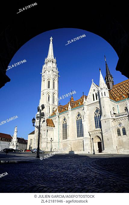 Matthias Church near the Fisherman's Bastion. Hungary, Budapest, Buda, Castle Hill