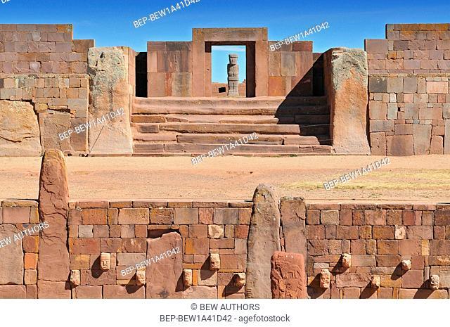 Bolivia, Tiwanaku, Temple Kalasasaya, an Important pre Columbian Archaeological Site