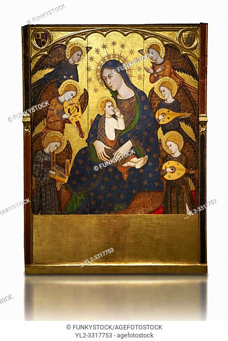 Gothic painted Panel Virgin Suckling the Child by Llorenc Saragossa. Tempera, gold leaf and metal plate on wood. Last quarter of 14th century