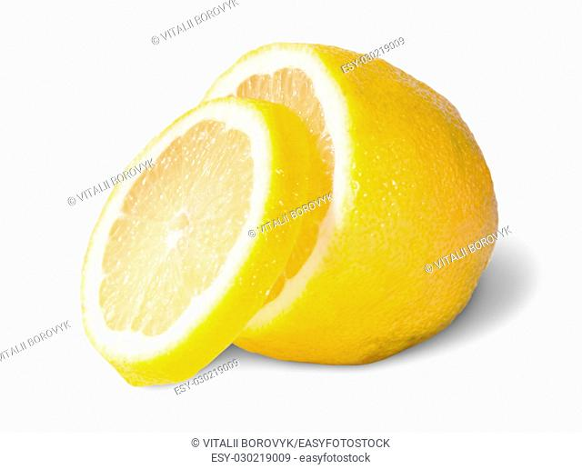 Half Of A Lemon With One Slice Isolated On White Background