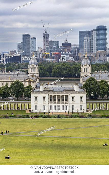 Queen's House and Canary Wharf, cityscape from Greenwich hill, Greenwich, London, England, UK
