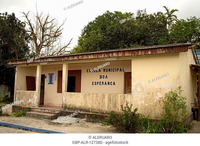 Municipal school, Boa Esperança Community, Cuieiras River, Amazônia, Manaus, Amazonas, Brazil