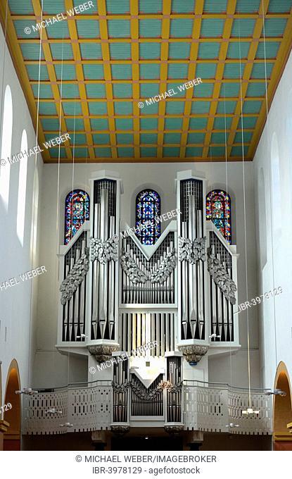 Beckerath organ on the west gallery, former collegiate church of St. Suitbertus, late Romanesque pillar basilica, Kaiserswerth, Dusseldorf