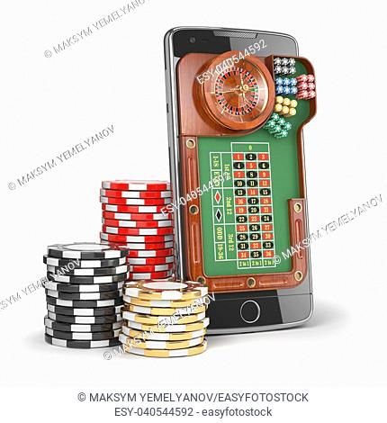 Online casino concept. Mobile phone with roulette and casino chips isolated on white background. 3d illustration
