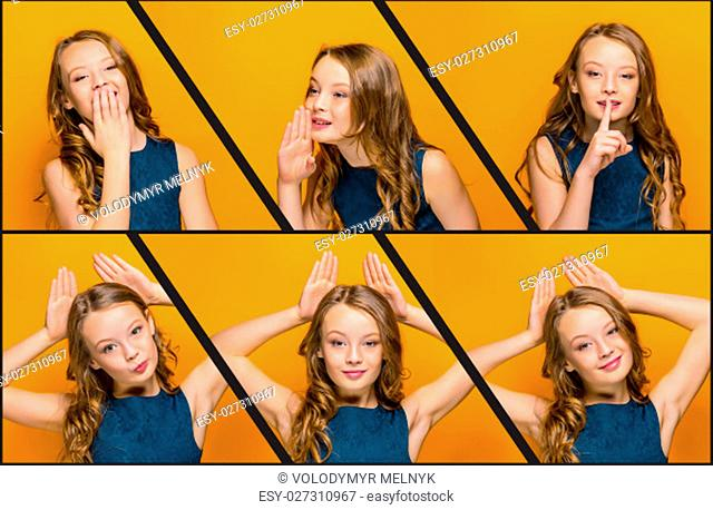 The collage from images of face of playful happy teen girl with long hair on orange studio background