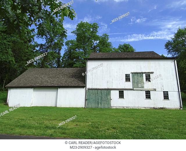 An old white barn, Pennsylvania, USA