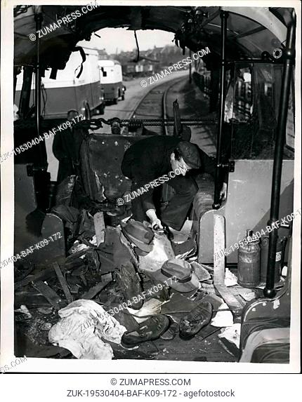 Apr. 04, 1953 - The wrecked trains of the underground crash.: The wreckage of the Underground trains which crashed at Stratfrod on Wednesday evening - with the...