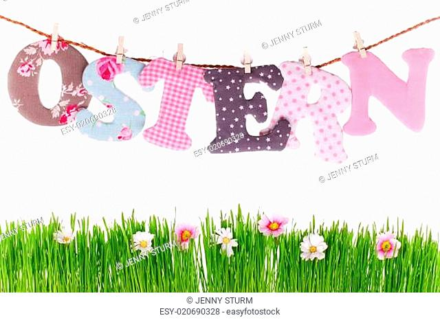 Oster Buchstaben über Frühlingswiese