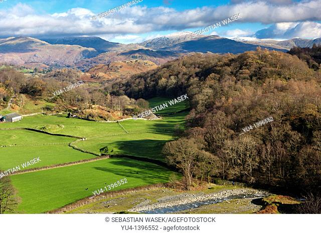 View from Horse Crag towards Loughrigg Fell, High Yewdale, Lake District National Park, Cumbria, Europe
