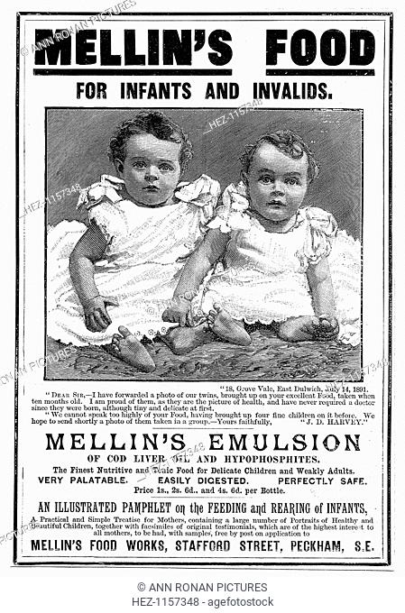 Magazine advertisement for Mellin's Emulsion, a food supplement based on cod liver oil, c1890. The advertisement recommends the use of the product by children...