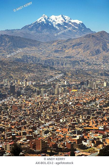 Illimani peak and cityscape