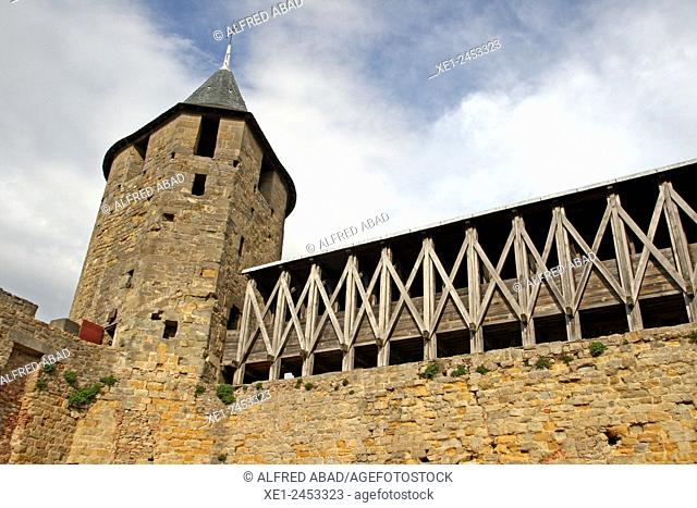 Ramparts, Cite de Carcassonne, Pays Cathare, France