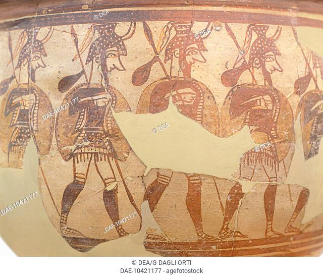 Krater depicting Shardana warriors, painted terracotta vase from Mycenae (Greece). Mycenaean Civilization, 13th Century BC