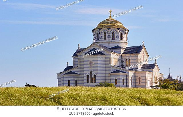 Saint Vladimir's Cathedral, Chersonesus, Crimean Peninsula. . Neo-Byzantine Russian Orthodox church built in the 1870's on the shores of the Black sea outside...