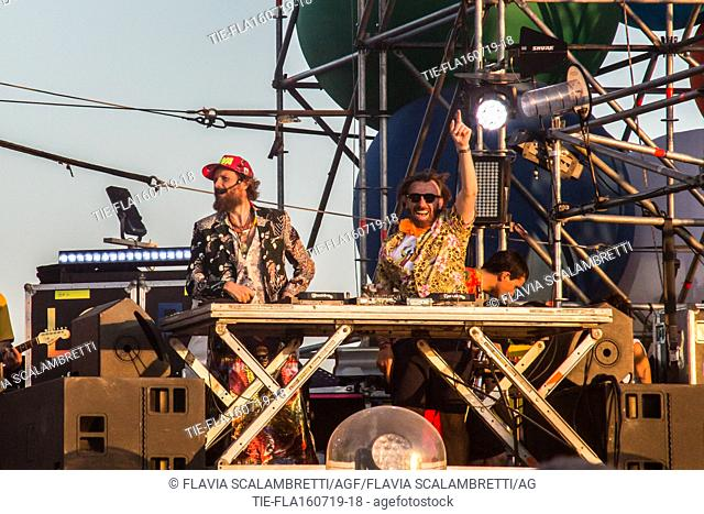 Jovanotti with the dj Benni Benassi in concert ,Cerveteri, ITALY-16-07-2019