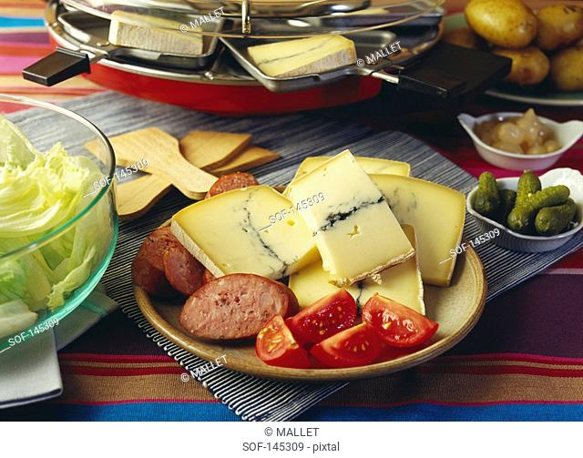 Plate of ingredients for a Raclette