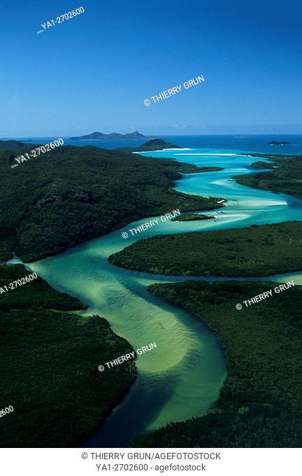 Australia, Queensland, Whitsunday island, sand water canal going down to Hill Inlet and Whitehaven Beach (aerial view)