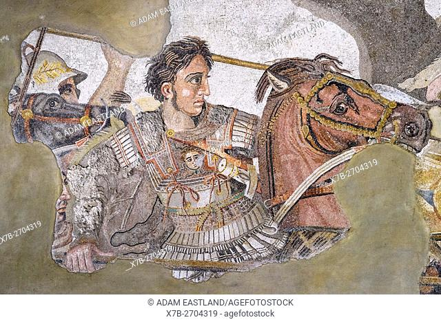 Naples. Italy. Alexander Mosaic floor from the House of Faun at Pompeii, (ca. 120 BC), detail of Alexander the Great on horseback
