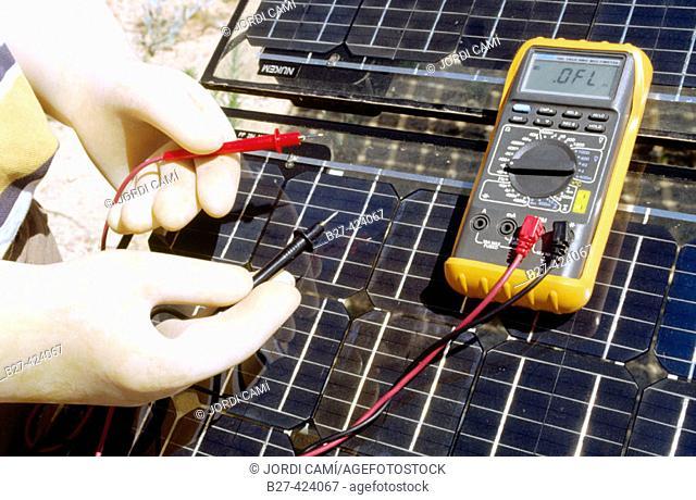 Using multimeter on photovoltaic power station. Toledo province, Spain