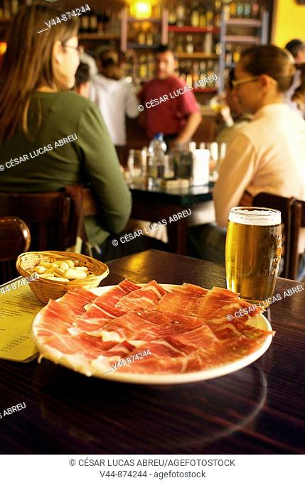 Spanish ham at Cerveceria Robles, Nerva. Huelva province, Andalusia, Spain