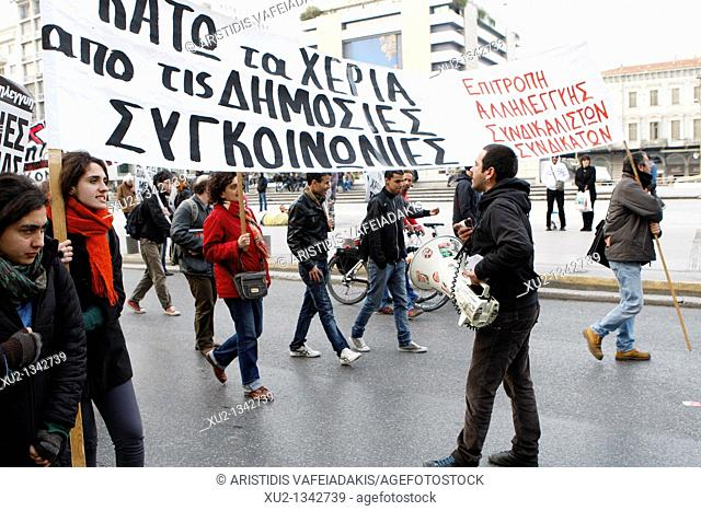 Greek transport workers protest against a public transport sector shakeup that is part of Greece's cost-cutting reforms to improve public finances