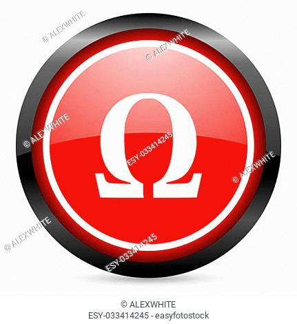 omega round red glossy icon on white background