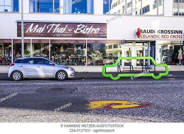 Bicycle parking in the shape of a car in Reykjavic, Iceland