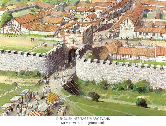 Silchester Roman City Walls, Hampshire. Reconstruction drawing by Ivan Lapper. Aerial drawing of the north gate, 3rd century AD, with traders outside