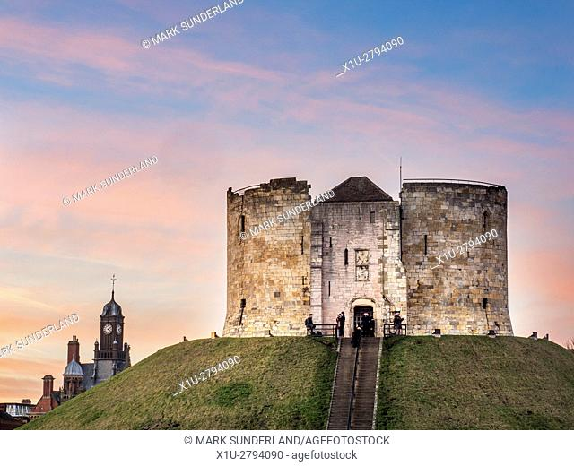 Pink Sky over Cliffords Tower at Dusk City of York Yorkshire England
