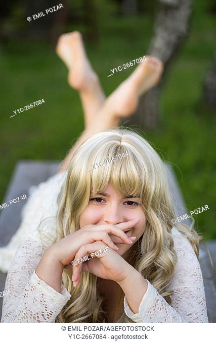 Teen girl portrait shy
