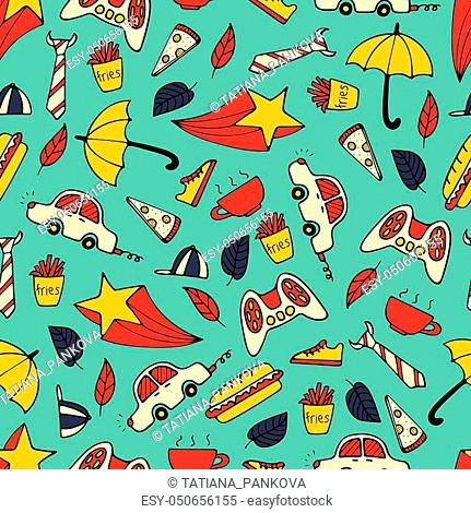 Cute seamless pattern with hand-drawn men illustrations